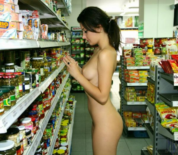 Goła pani w sklepie